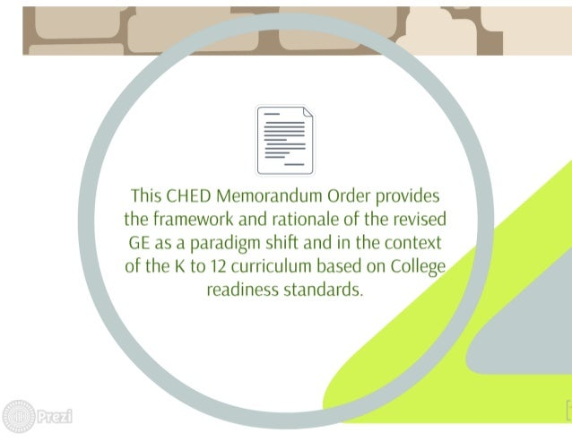 I  This CH ED Memorandum Order provides the framework and rationale of the revised GE as a paradigm shift and in the conte...