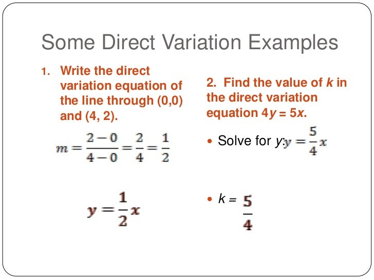 Writing and Graphing an Equation of Direct Variation