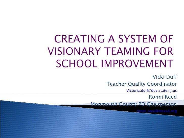 Vicki Duff Teacher Quality Coordinator [email_address] Ronni Reed Monmouth County PD Chairperson [email_address] g