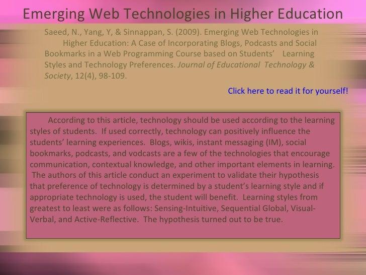 Emerging Web Technologies in Higher Education Saeed, N., Yang, Y, & Sinnappan, S. (2009). Emerging Web Technologies in  Hi...
