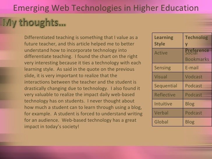 Emerging Web Technologies in Higher Education Differentiated teaching is something that I value as a future teacher, and t...