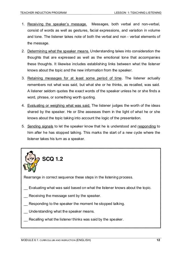 teaching listening module 6 Shaping the way we teach english page 57 module 6 managing large classes- approaches to language teaching: extension video length: approximately 11 minutes.