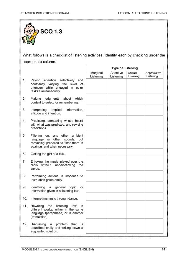 teaching listening module 6 Ppg module tsl3105 topic 6 planning remedial & enrichmt activities arcs dvbs training workshop  tsl 3105 teaching of listening and speaking skills in the primary esl classroom  documents similar to ppg module tsl3105 topic 1 teaching of l&s skills aural comprehension instruction uploaded by.
