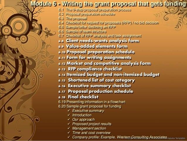 writing a grant proposal checklist