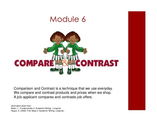 Module 6  Comparison and Contrast is a technique that we use everyday.  We compare and contrast products and prices when w...