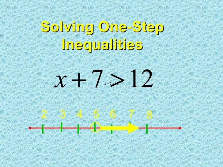 Solving One-Step Inequalities 7 6 3 5 4 2 8