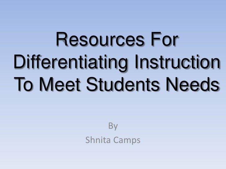 Resources For Differentiating Instruction To Meet Students Needs<br />By<br />Shnita Camps<br />
