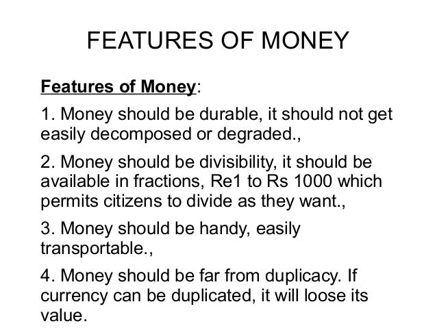 functions and forms of money