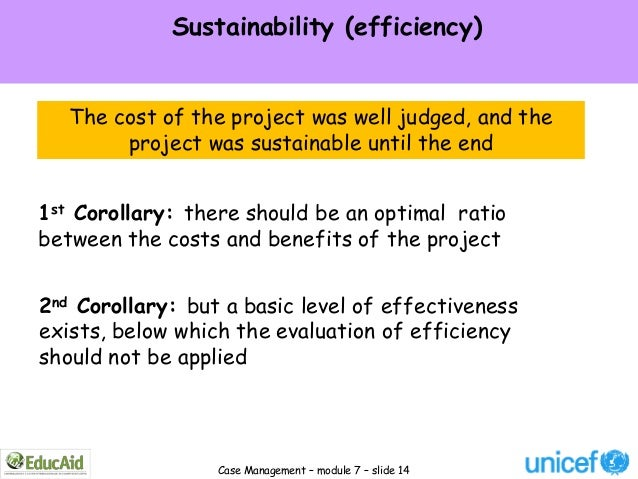 Sustainability (efficiency)   The cost of the project was well judged, and the        project was sustainable until the en...