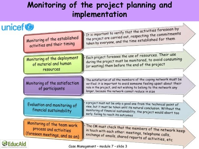 Monitoring of the project planning and            implementation          Case Management – module 7 – slide 3