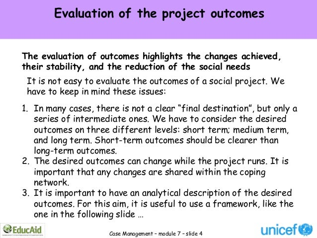 Evaluation of the project outcomesThe evaluation of outcomes highlights the changes achieved,their stability, and the redu...