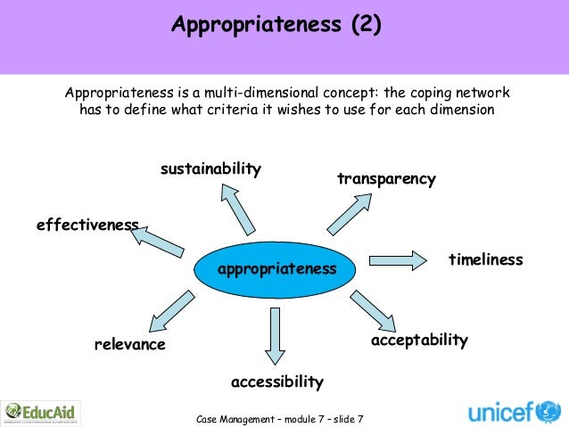 Appropriateness (2)   Appropriateness is a multi-dimensional concept: the coping network     has to define what criteria i...