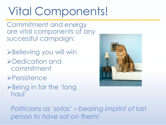 Vital Components! Commitment and energy are vital components of any successful campaign: Believing you will win Dedicati...