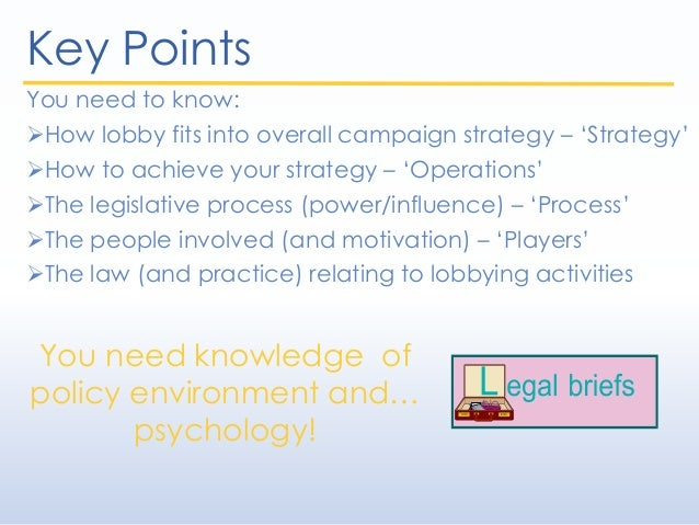 Key Points You need to know: How lobby fits into overall campaign strategy – 'Strategy' How to achieve your strategy – '...