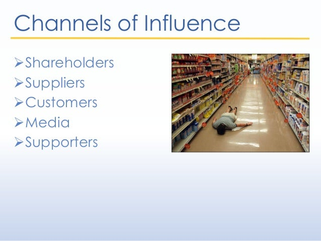 Channels of Influence Shareholders Suppliers Customers Media Supporters