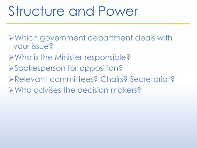 Structure and Power Which government department deals with your issue? Who is the Minister responsible? Spokesperson fo...