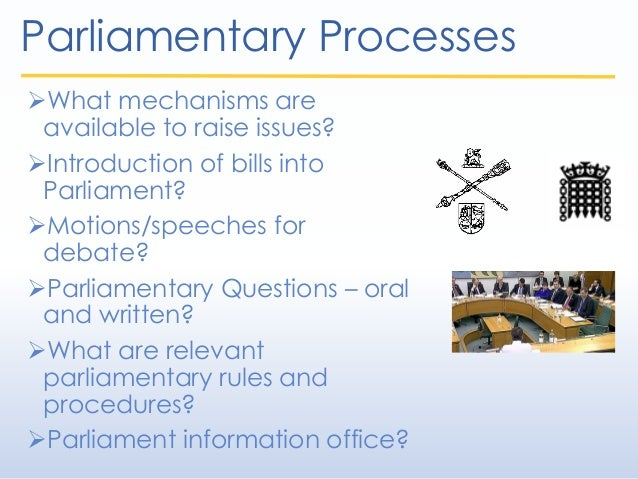 Parliamentary Processes What mechanisms are available to raise issues? Introduction of bills into Parliament? Motions/s...