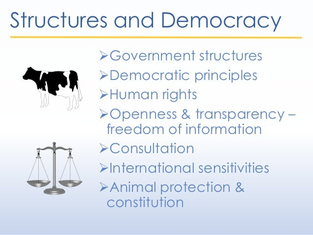 Structures and Democracy Government structures Democratic principles Human rights Openness & transparency – freedom of...