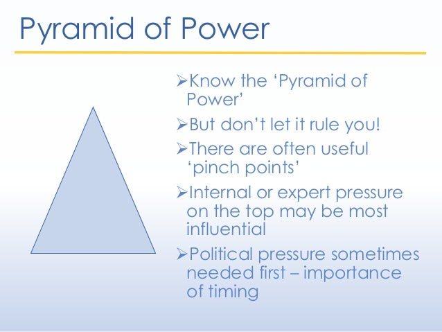 Pyramid of Power Know the 'Pyramid of Power' But don't let it rule you! There are often useful 'pinch points' Internal...
