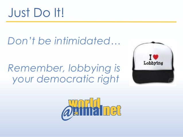 Just Do It! Don't be intimidated… Remember, lobbying is your democratic right