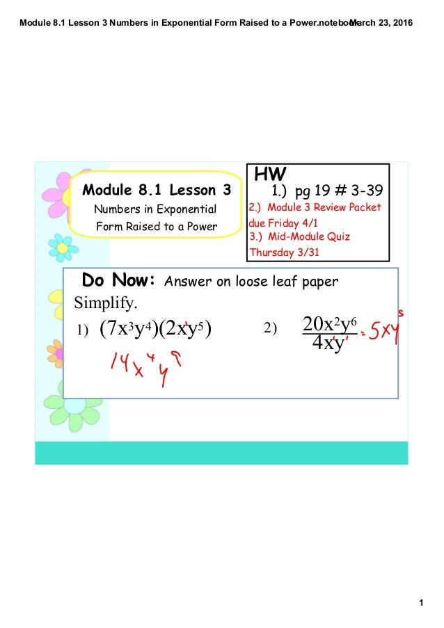 Module 8 1 lesson 3 numbers in exponential form raised to a