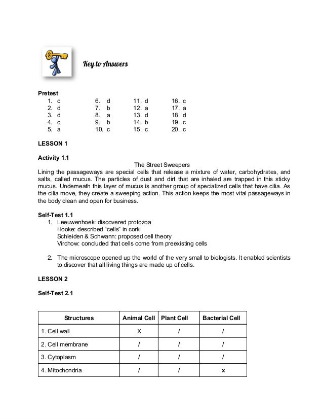 Module cell structure and function – Cell Structure Worksheet Answers