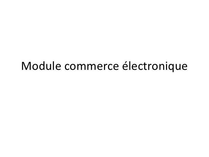 Module commerce électronique