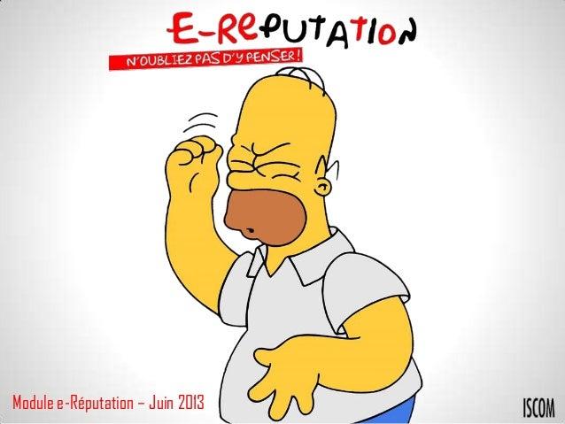 Module e-Réputation – Juin 2013