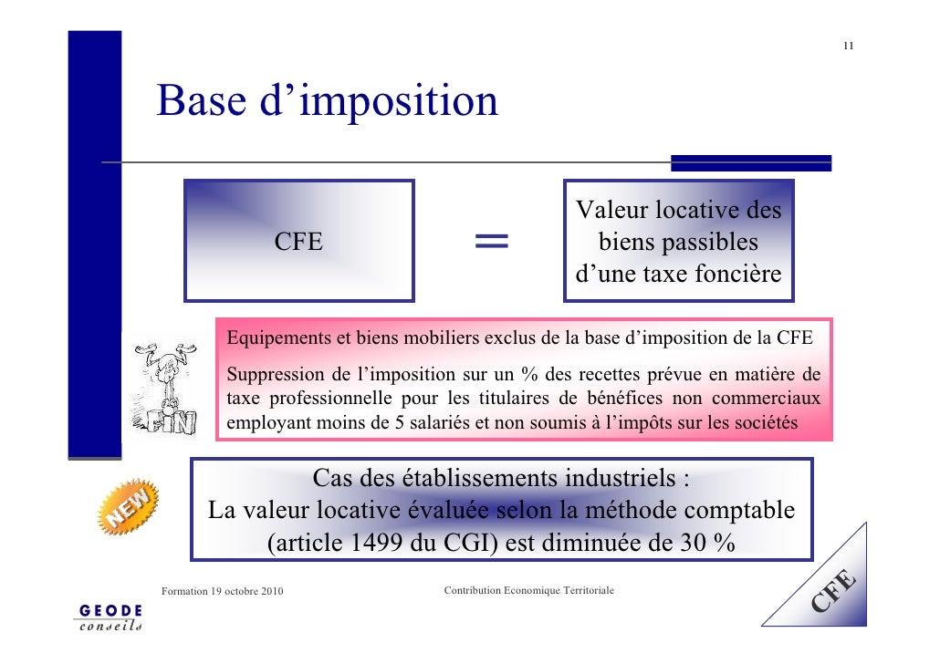11     Base d'imposition                                                                    Valeur locative des           ...