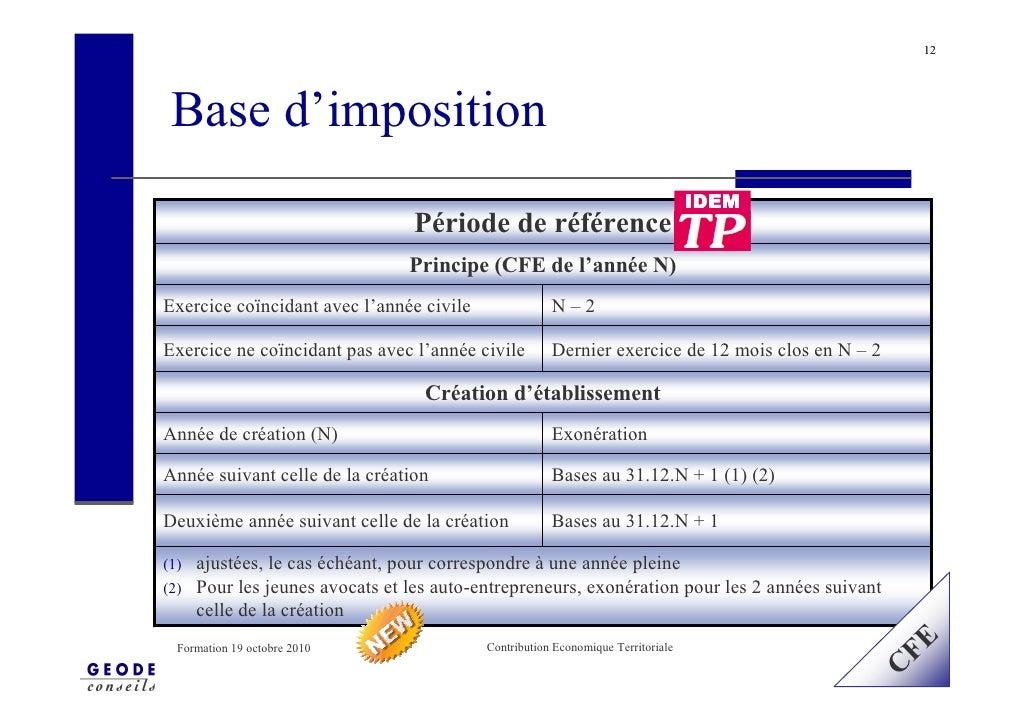 12      Base d'imposition                                                                                   IDEM          ...