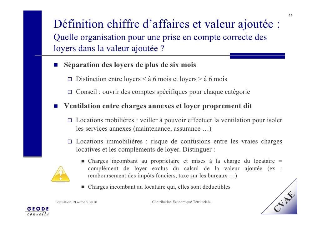 33  Définition chiffre d'affaires et valeur ajoutée : Quelle organisation pour une prise en compte correcte des loyers dan...