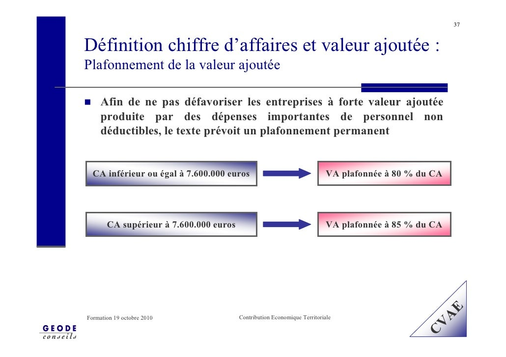 37    Définition chiffre d'affaires et valeur ajoutée : Plafonnement de la valeur ajoutée       Afin de ne pas défavoriser...