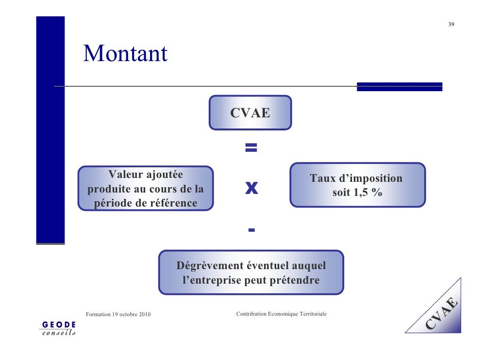 39     Montant                                        CVAE                                            =    Valeur ajoutée ...