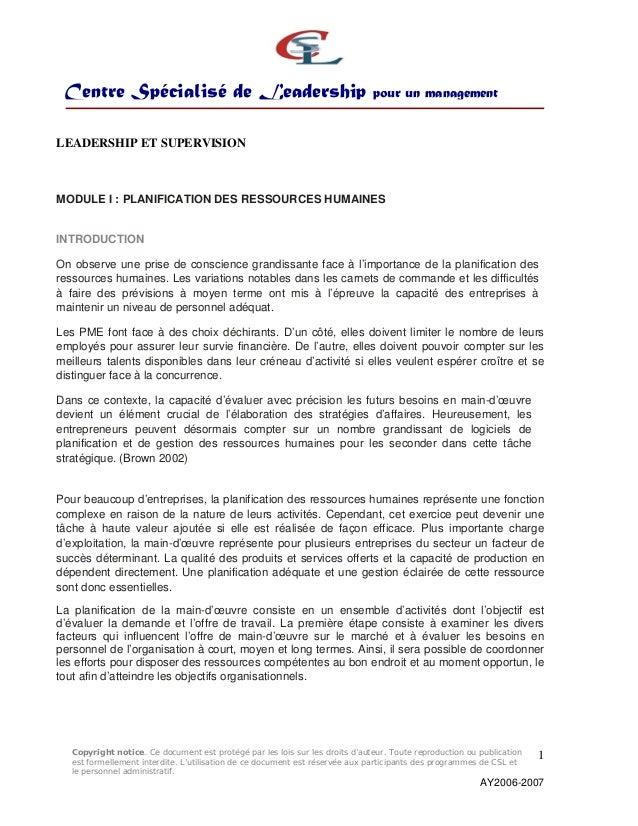 Centre Spécialisé de Leadership pour un management Copyright notice. Ce document est protégé par les lois sur les droits d...