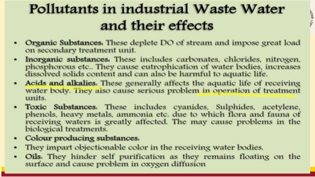 7. Pesticides Organic and inorganic Water and land waste 8. Oil Refineries Smoke, toxic gases, organic waste Air and water...