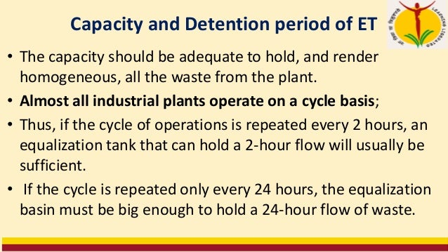 Volume of Equalization Tanks Volume can be determined by Mass Curve Method