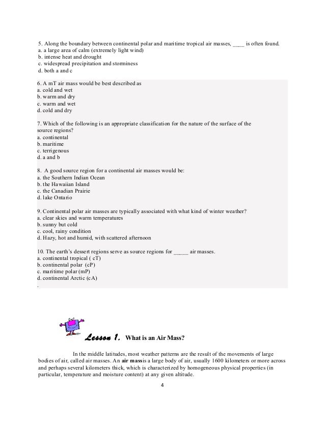 Air Masses – Air Mass Worksheet