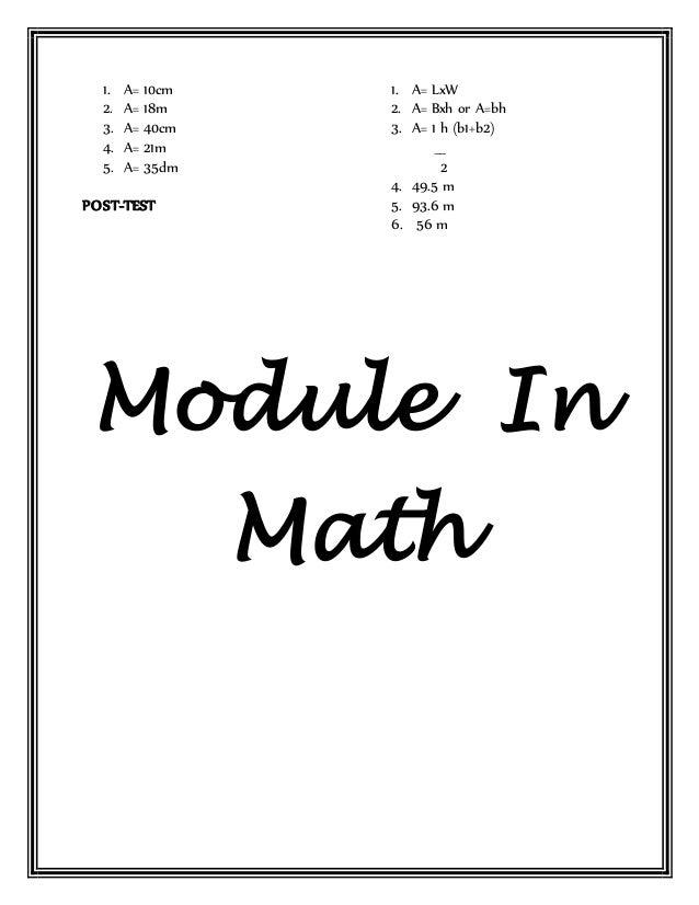 MODULE IN MATH GRADE IV
