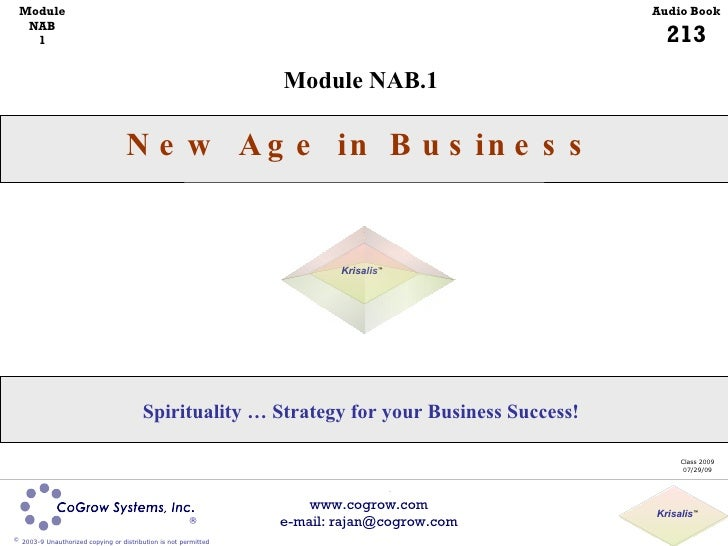 Module NAB.1 New Age in Business Class 2009 07/29/09 Spirituality … Strategy for your Business Success! Module NAB 1 Audio...