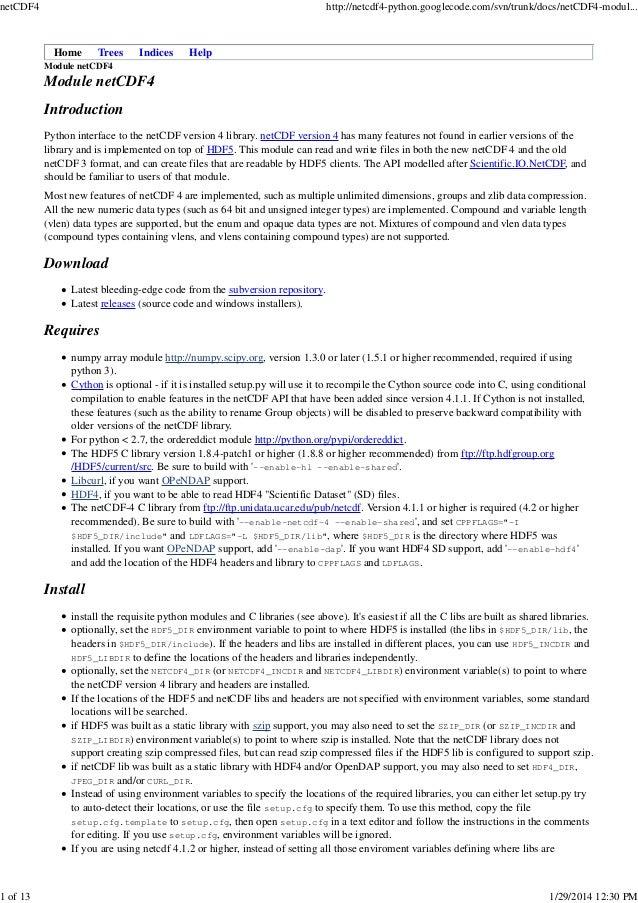 netCDF4  1 of 13  http://netcdf4-python.googlecode.com/svn/trunk/docs/netCDF4-modul...  Home  Trees  Indices  Help  Module...