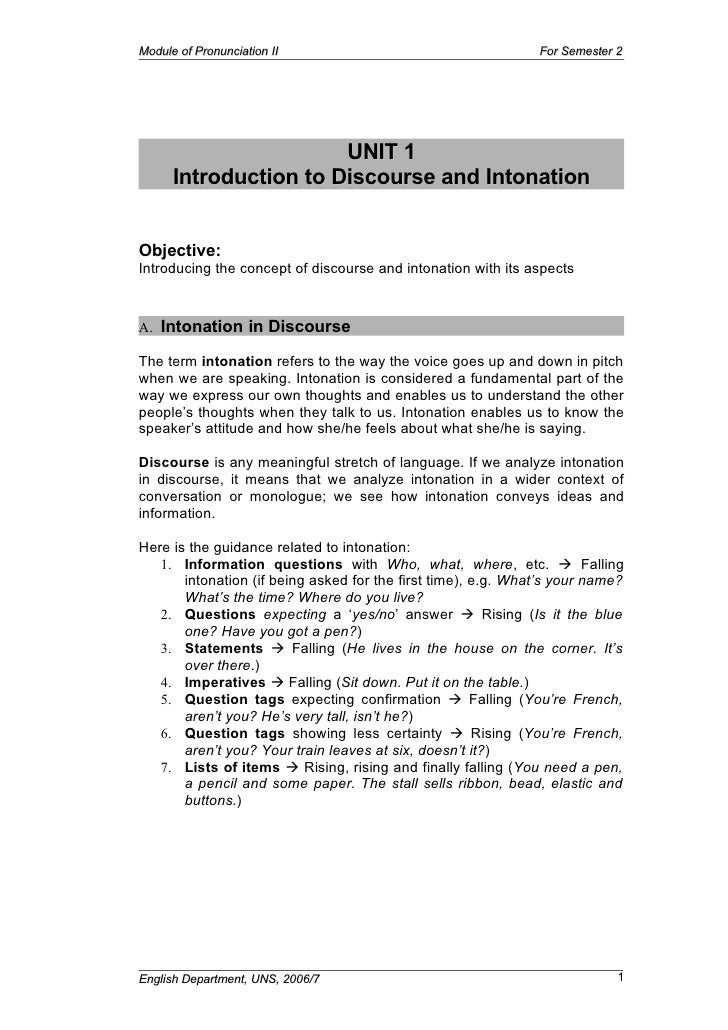 Module of Pronunciation II                                     For Semester 2                            UNIT 1       Intr...