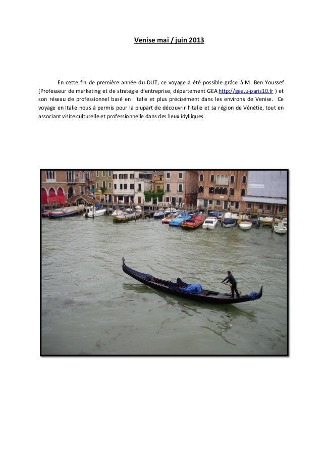 Venise mai / juin 2013 En cette fin de première année du DUT, ce voyage à été possible grâce à M. Ben Youssef (Professeur ...