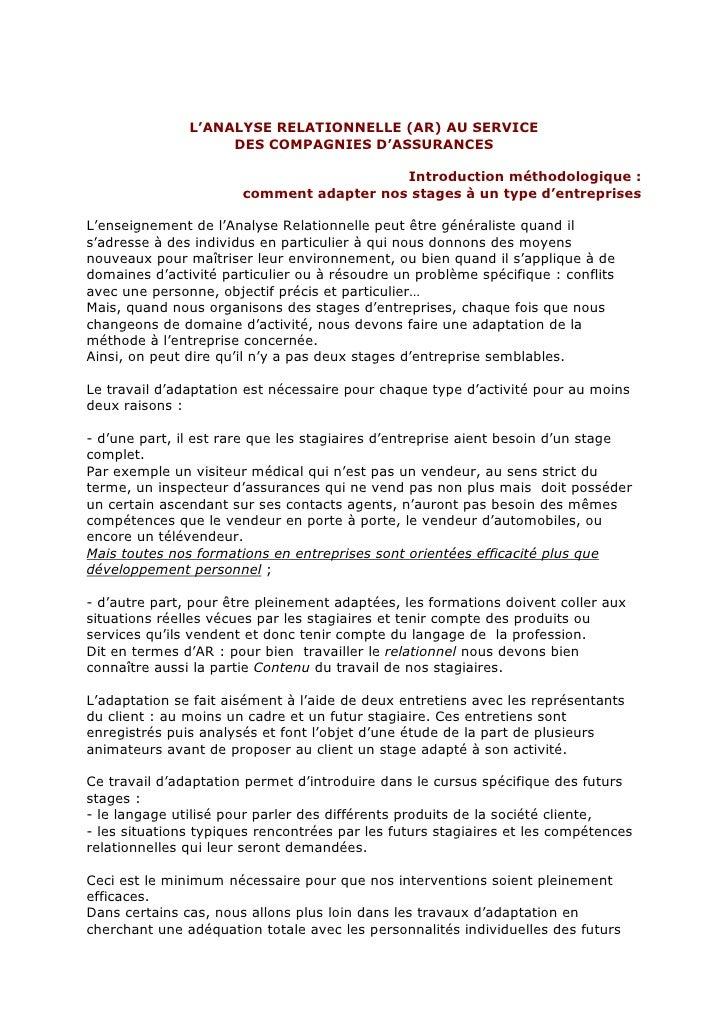 L'ANALYSE RELATIONNELLE (AR) AU SERVICE                     DES COMPAGNIES D'ASSURANCES                                   ...
