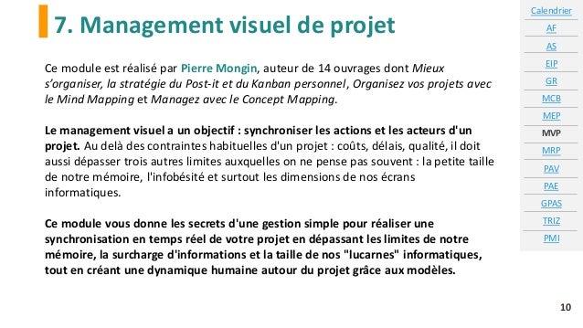 7. Management visuel de projet Calendrier AF AS EIP GR MCB MEP MVP MRP PAV PAE GPAS TRIZ PMI 10 Ce module est réalisé par ...