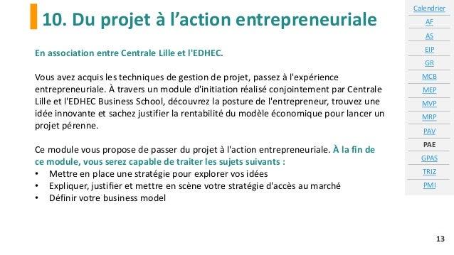 10. Du projet à l'action entrepreneuriale Calendrier AF AS EIP GR MCB MEP MVP MRP PAV PAE GPAS TRIZ PMI 13 En association ...