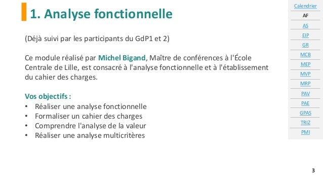 1. Analyse fonctionnelle Calendrier AF AS EIP GR MCB MEP MVP MRP PAV PAE GPAS TRIZ PMI 3 (Déjà suivi par les participants ...