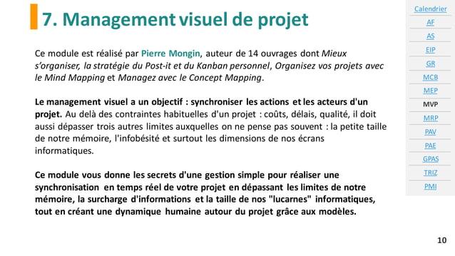 7. Managementvisuel de projet Calendrier AF AS EIP GR MCB MEP MVP MRP PAV PAE GPAS TRIZ PMI 10 Ce module est réalisé par P...