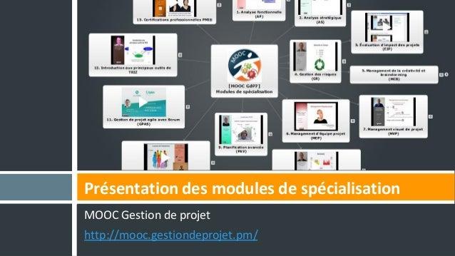 MOOC Gestion de projet http://mooc.gestiondeprojet.pm/ Présentation des modules de spécialisation