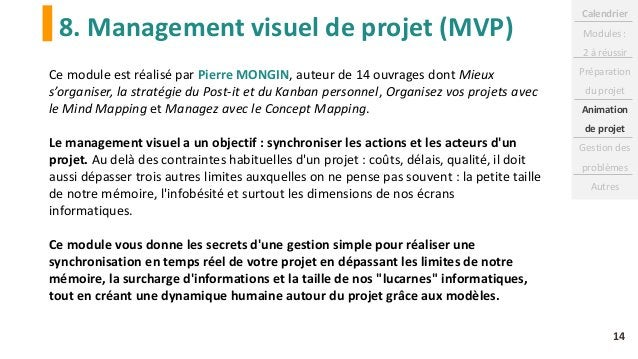 8. Management visuel de projet (MVP) 14 Ce module est réalisé par Pierre MONGIN, auteur de 14 ouvrages dont Mieux s'organi...