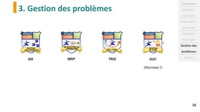 3. Gestion des problèmes Calendrier Modules : 2 à réussir Préparation du projet Animation de projet Gestion des problèmes ...
